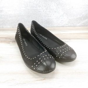 Franco Sarto Leather Studded Ballet Flats - 7.5M
